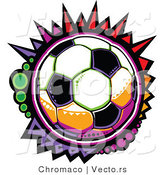 Vector of a Colorful Cartoon Soccer Ball by Chromaco