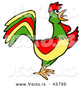 Vector of a Colorful Rooster Crowing by LaffToon