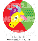 Vector of a Colorful Taurus Astrology Sign by Venki Art