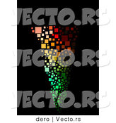Vector of a Colorful Tornado on a Black Background - Mosaic Style by Dero