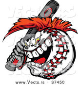 Vector of a Competitive Aggressive Batting Baseball Mascot with a Mohawk by Chromaco