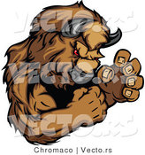 Vector of a Competitive Buffalo Mascot in Fighting Stance by Chromaco