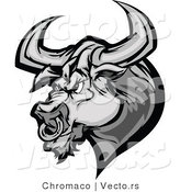 Vector of a Competitive Bull Mascot Ready to Charge with Nose Ring and Sharp Horns - Grayscale Cartoon by Chromaco