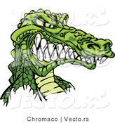 Vector of a Competitive Cartoon Alligator Mascot Grinning with Intimidating Eyes by Chromaco