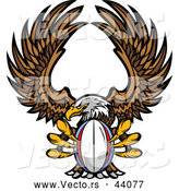 Vector of a Competitive Cartoon Bald Eagle Mascot Flying with a Rugby Ball in Its Talons by Chromaco