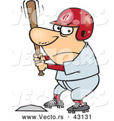 Vector of a Competitive Cartoon Baseball Player Batting at Home Base by Toonaday