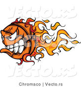 Vector of a Competitive Cartoon Basketball Mascot with Trailing Flames by Chromaco