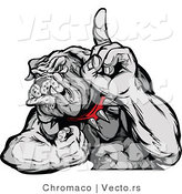 Vector of a Competitive Cartoon Bulldog Mascot Flexing Muscles While Pointing Finger up by Chromaco