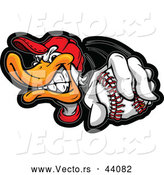 Vector of a Competitive Cartoon Duck Holding out a Baseball While Grinning by Chromaco