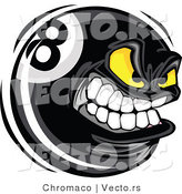 Vector of a Competitive Cartoon Eight Ball Mascot Grinning with Intimidating Yellow Eyes by Chromaco