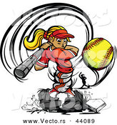 Vector of a Competitive Cartoon Female Baseball Player Swinging Bat and Hitting a Softball by Chromaco