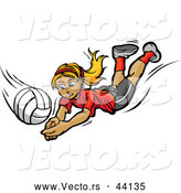 Vector of a Competitive Cartoon Female Volleyball Player Diving Towards a Volleyball by Chromaco
