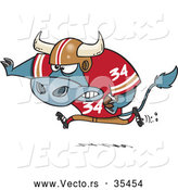 Vector of a Competitive Cartoon Football Bull Charging Forward with the Ball by Toonaday