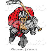 Vector of a Competitive Cartoon Ice Hockey Player Skating Forward Aggressively by Chromaco