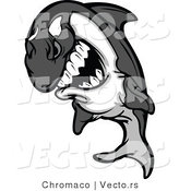 Vector of a Competitive Cartoon Killer Whale Orca Mascot Grinning While Staring with Intimidating Eyes by Chromaco