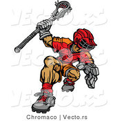 Vector of a Competitive Cartoon Lacrosse Player by Chromaco