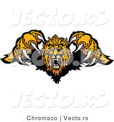Vector of a Competitive Cartoon Lion Mascot Leaping Forward with Sharp Claws During an Attack by Chromaco