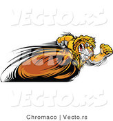 Vector of a Competitive Cartoon Lion Mascot Running Fast in a Race by Chromaco