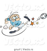 Vector of a Competitive Cartoon Man Kicking Soccer Ball As Hard As He Can by Gnurf