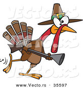 Vector of a Competitive Cartoon Pilgrim Turkey Hunting with a Rifle by Toonaday