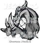 Vector of a Competitive Cartoon Razorback Boar Mascot Grinning While Charging - Grayscale by Chromaco