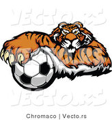 Vector of a Competitive Cartoon Tiger Mascot Gripping Soccer Ball with Paw by Chromaco