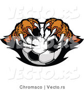 Vector of a Competitive Cartoon Tiger Mascot Gripping Soccer Ball with Paws and Sharp Claws by Chromaco