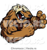 Vector of a Competitive Cartoon Wolverine Mascot in Fighting Stance While Growling Aggressively by Chromaco