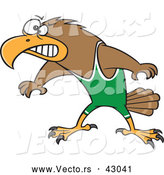 Vector of a Competitive Cartoon Wrestler Hawk Prepared to Fight by Toonaday