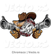 Vector of a Competitive Cowboy Baseball Shooting with Two Guns While GrinningCompetitive Cowboy Baseball Shooting with Two Guns While Grinning - Coloring Page Outline by Chromaco