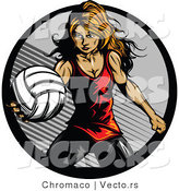 Vector of a Competitive Female Volleyball Player Serving the Ball by Chromaco