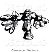 Vector of a Competitive Fighter Reaching Forward with Big Strong Hands - Black and White by Chromaco