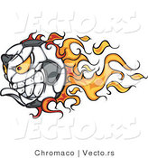 Vector of a Competitive Flaming Soccer Ball Mascot Character by Chromaco
