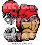Vector of a Competitive Football Player Flexing Strong Arm Muscles by Chromaco