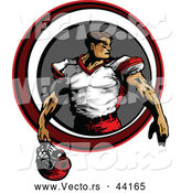 Vector of a Competitive Football Player Holding His Helmet Within a Circle by Chromaco