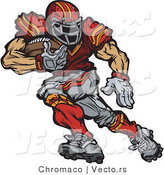 Vector of a Competitive Football Player Looking Back While Running Forward with Ball by Chromaco