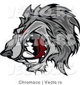 Vector of a Competitive Gray Wolf Mascot Growling with Intimidating Red Eyes by Chromaco