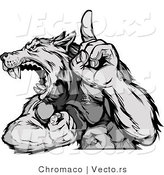 Vector of a Competitive Grey Wolf Mascot Howling While Displaying Strength and Pointing Finger up by Chromaco