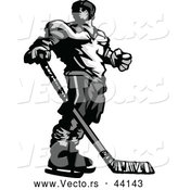 Vector of a Competitive Hockey Player Mascot Looking over His Shoulder - Grayscale Version by Chromaco