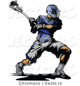 Vector of a Competitive Lacrosse Player Swinging Stick by Chromaco