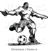 Vector of a Competitive Male Soccer Player Kicking Ball - Grayscale Version by Chromaco