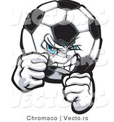 Vector of a Competitive Soccer Ball Gritting Teeth in a Fighting Stance by Chromaco