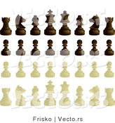 Vector of a Complete Set of Black and White Chess Pieces by Frisko