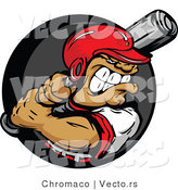 Vector of a Confident Baseball Athlete Preparing to Swing a Bat at Ball by Chromaco