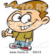 Vector of a Confident Cartoon Boy Giving Thumbs up Hand Gesture While Smiling by Toonaday