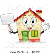Vector of a Confident House Mascot Waving and Holding a Sign by BNP Design Studio