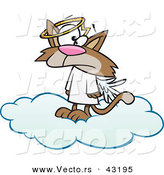 Vector of a Confused Cartoon Angel Cat Standing on a Heavenly Cloud by Toonaday