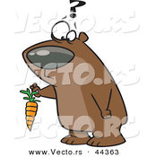 Vector of a Confused Cartoon Bear Holding a Carrot by Toonaday