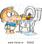 Vector of a Confused Cartoon Boy Looking at His Toys Floating on Overflowing Water in a Clogged Toilet by Toonaday