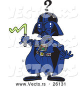 Vector of a Confused Cartoon Darth Vader Man with Weak Lightsaber by Toonaday